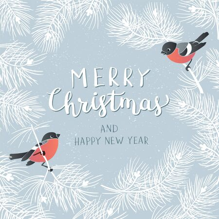 Christmas Poster . Vector illustration of Christmas Background with branches of christmas tree and two bullfinches .