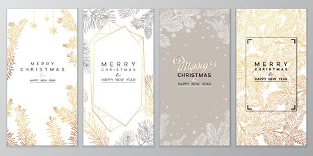 Christmas Poster set. Vector illustration of Christmas Background with branches of christmas tree. 向量圖像