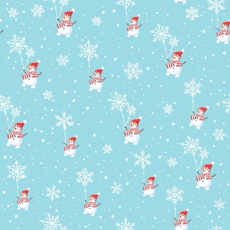Christmas seamless pattern with happy snowman and flakes on blue background. 일러스트
