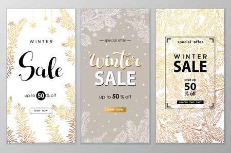 Winter sale vector poster or banner set with discount text and snow elements in golden branches and white snowflakes background for shopping promotion. Vector illustration. 일러스트
