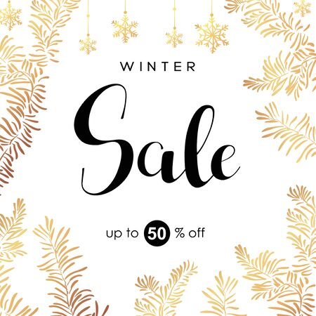 Winter sale vector poster or banner with discount text and snow elements in golden branches and white snowflakes background for shopping promotion. Vector illustration. 일러스트