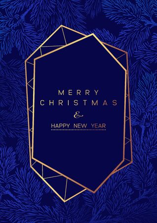 Christmas Poster with pine branches on dark blue background. New year illustration. Winter card design. 일러스트