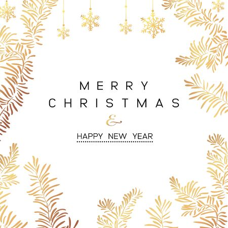 Christmas Poster. Vector illustration of Christmas Background with branches of christmas tree.