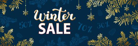 Winter sale or holidays background with branches and snowflakes. New year illustration. Winter sale banner design.