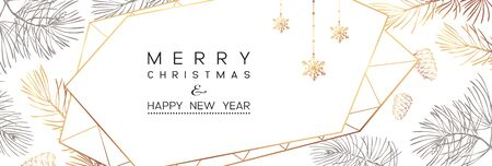Winter holidays or Christmas background with branches and snowflakes. New year illustration. Winter banner design.