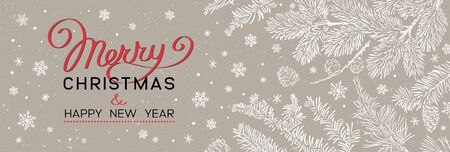 Christmas greeting banner - Illustration. Vector illustration of Christmas Background with branches of christmas tree on brown. Happy new year greeting.