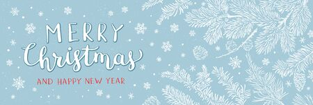 Christmas greeting banner - Illustration. Vector illustration of Christmas Background with branches of christmas tree on blue. Happy new year greeting.