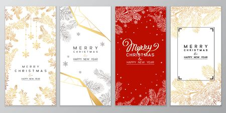 Christmas Poster set. Vector illustration of Christmas Background with branches of christmas tree. 일러스트