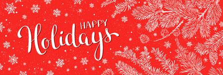 Winter holidays greeting banner - Illustration. Vector illustration of Christmas Background with branches of christmas tree on red. Happy new year greeting.