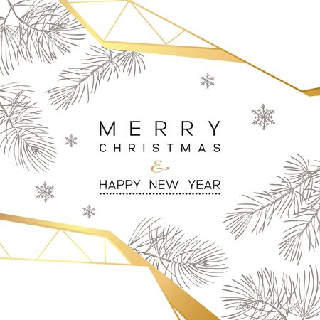 Christmas Poster. Vector illustration of modern Christmas Background with branches of christmas tree. 일러스트