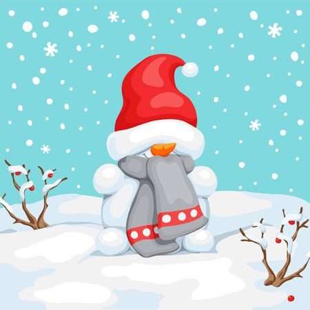 Vector snowman with hat on eyes. Snowman greeting. Cute Christmas greeting card with snowman. Greeting card with snowmen and snowfall. Illustration for Christmas design.