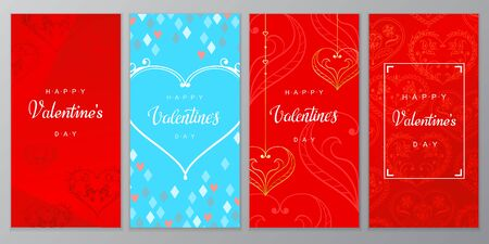 Valentine's Day Poster set. Vector illustration of Valentine's Day Background with hand drawn golden hearts.