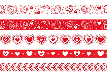 Vector seamless border set with hearts. Red and white vintage hearts for frame, card design Illusztráció