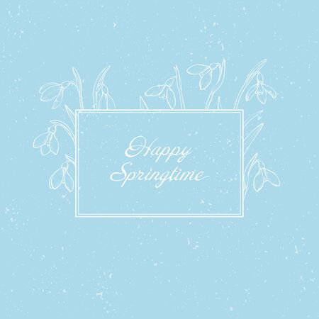 Vector spring greeting card with hand drawn snowdrops on blue background. Spring flowers