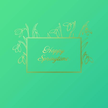 Vector spring greeting card with golden hand drawn snowdrops frame. Happy springtime