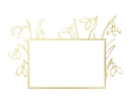 Vector spring frame with golden hand drawn snowdrops. Illusztráció