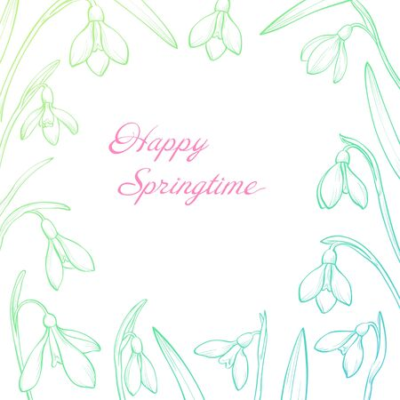 Vector spring greeting card with hand drawn snowdrops. Happy springtime
