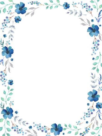 Floral frame template with blue flowers and swirly leaves on white background. Vector design illustration element for decoration, print, card, invitation. Illusztráció