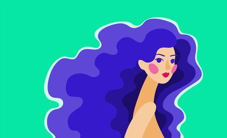 Vector abstract illustration of a girl with long curly blue hair Illusztráció