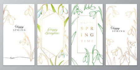 Floral vector card with golden snowdrops, happy spring lettering Illusztráció