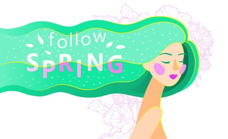 Vector abstract illustration of a girl with long green hair with follow spring text. Spring card or poster design.
