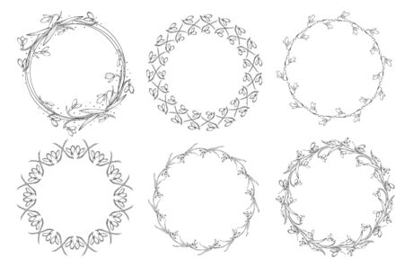 Floral black and white Frame Collection in line style. Set of cute retro snowdrops arranged un a shape of the circle for wedding invitations and birthday cards