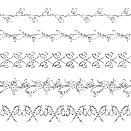 Floral black and white seamless border Collection in line style. Set of cute retro snowdrops elements for frame, can use for wedding invitations and birthday cards