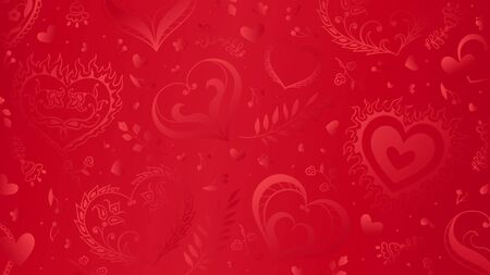 Vector red background with hand drawn creative hearts and flowers in folk style. Can be used for poster, greeting card and wedding invitations.