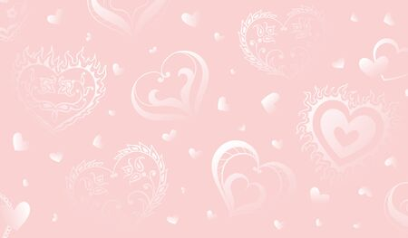 Vector pink background with hand drawn creative hearts and flowers in folk style. Can be used for poster, greeting card and wedding invitations.