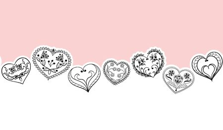 Valentines Day seamless Background. Black Hearts Border Frame. Vector Frame with horizontal Space for your Text. Ilustrace