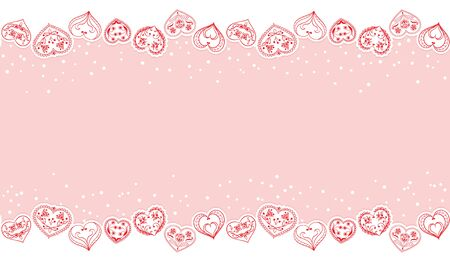 Valentines Day seamless Background. Red Hearts Border Frame. Vector Frame with horizontal Space for your Text. Illusztráció