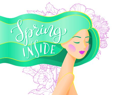 Vector abstract illustration of a girl with long green hair with spring inside lettering. Spring card or poster design.