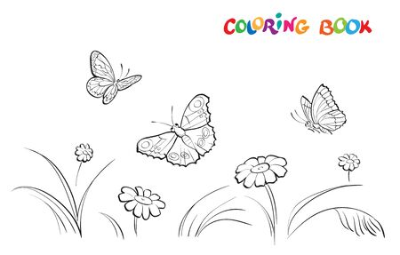 Vector illustration with three butterflies and flowers on a white background. Coloring page Illusztráció