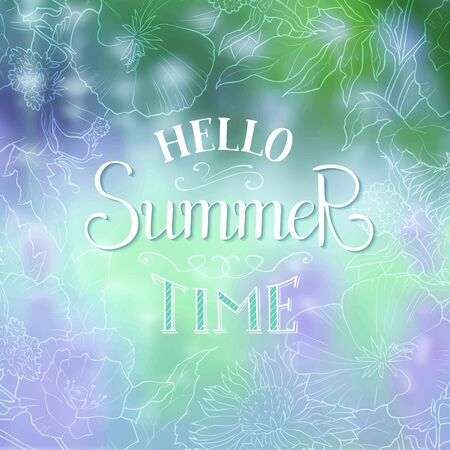 Hello summer time lettering. Vector summer poster with colorfull background