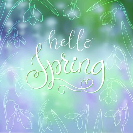 Hello spring time lettering. Vector spring poster with colorfull background