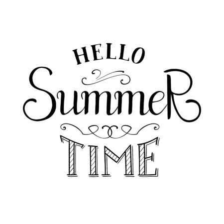 Vector hello summer time lettering. Illusztráció