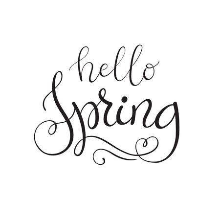 Vector hello spring lettering on white background.