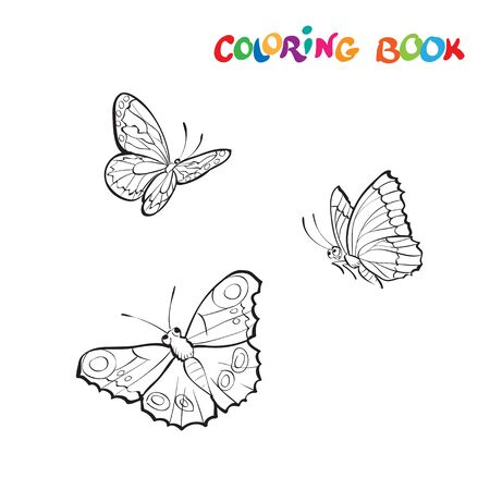 Vector illustration with three butterflies on a white background. Coloring page