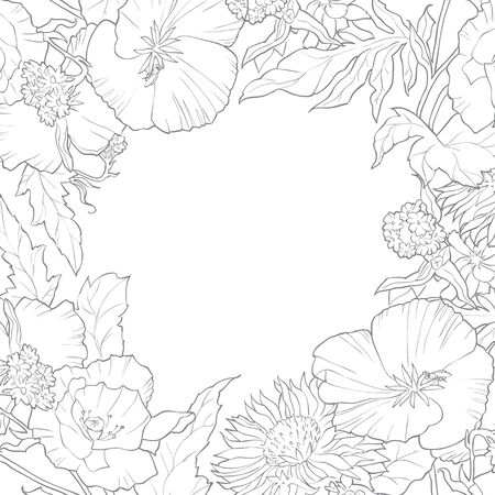 Vector floral frame with space for your text. Meadow flowers on white background. Coloring frame