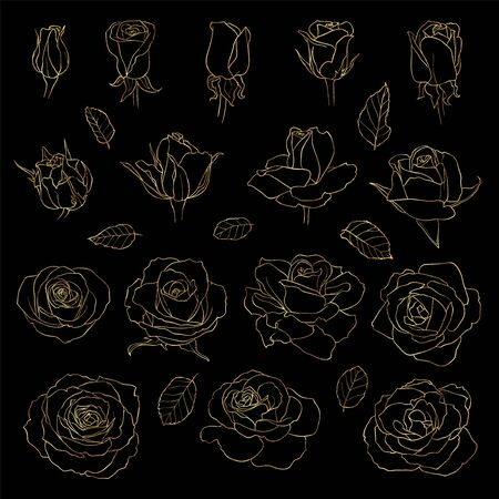 Vector set of roses. Golden hand-drawn flowers cut out on black background. Can use for wedding invitations and greeting cards