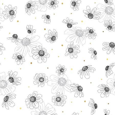 Vector seamless pattern with hand-drawn daisy flowers and golden dots Illusztráció