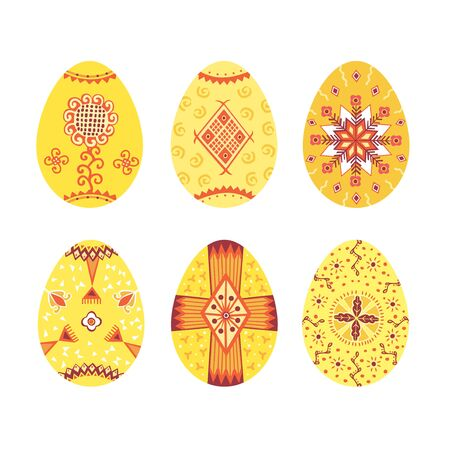Set of colorful Easter eggs cut out on white background. Vector illustration. Happy Easter.