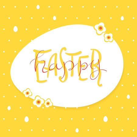 Happy Easter greeting card. Easter lettering on a white egg frame. Yellow background with white dots and eggs.