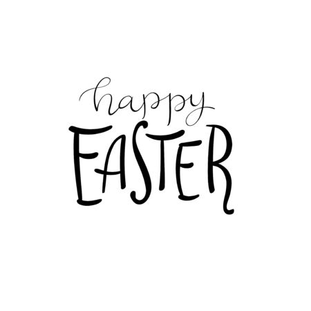 Hand drawn modern lettering of Happy Easter isolated on white background.