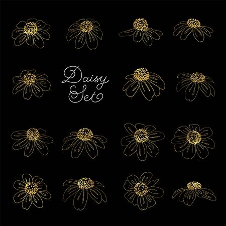 Set of golden daisy flowers in line style isolated on black background.