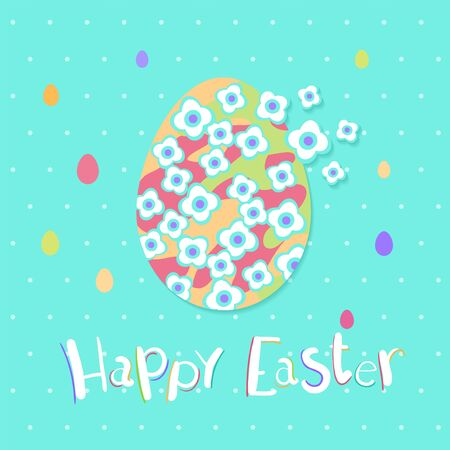 Happy Easter greeting card with colorful eggs and flowers. Vector illustration for Easter day Illusztráció