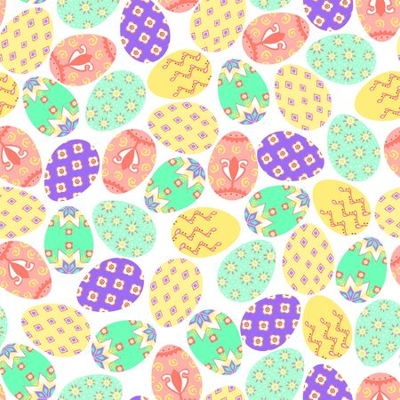 Easter colorful eggs on white background. Seamless pattern. Vector illustration