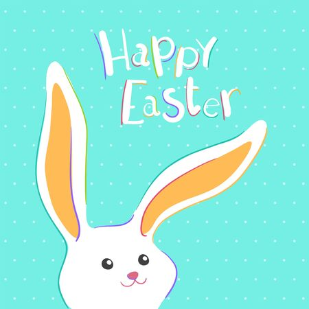 Happy Easter greeting card with colorful bunny. Vector illustration for Easter day Illusztráció