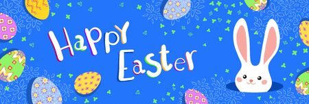 Happy Easter greeting banner with colorful bunny and eggs on blue background. Vector illustration for Easter day Ilustrace