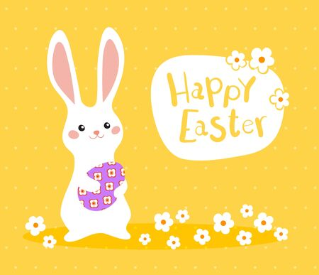 Happy Easter greeting banner with colorful bunny and egg on yellow background. Vector illustration for Easter day